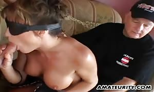 huge boobed rookie girlfriend anal sex threeway with facial
