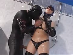 Latex-Fetish-Slut with Huge-Boobs fucked in Shower