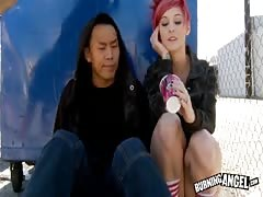 Redhead whore getting fucked by her lovely Asian friend