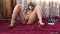 Young slender girl masturbating