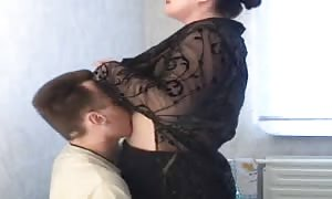 fatty Russian mother I'd like to fuck is having a aroused sex with a slender man