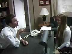 Skinny abused teen is getting fucked hard by her own boss in office