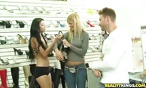 Astonishing ladies are swallowing his rock hard pecker for money!