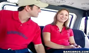 Mandi seduces turned on blonde female in the vehicle