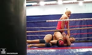 Brandy Smile doing a fight girl to female action