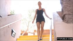 Public fingering and upskirt on the stairway