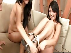 Brunette teens Maria and Tina sharing cock