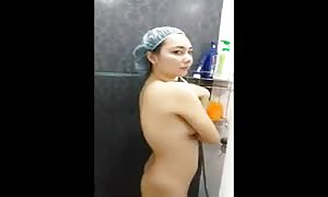 Khmer amature taking hit the shower leaked