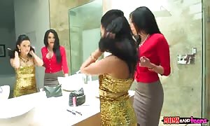 shocking 3some action in rest-room with best escorts!