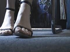Deutch friend's feet and heels under the desk 1