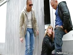 Skinny blonde sucks on a dick outdoors for cash