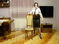 Chubby Wife as secretary dancing and strip