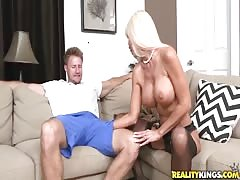 Cum-loving blonde getting fucked in her wide mouth!