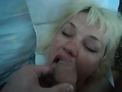 Fatty Russian mature-milf gets a huge load on her pink tongue