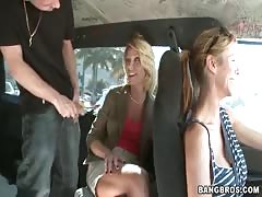 Her tight cunt being fucked with force at the backseat
