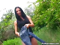 Long haired brunette strips off in the woods and gets banged
