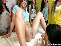 Great cunnilingus by a hot college babe to another hottie from the same sorority