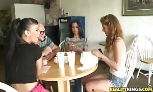 An exceptional double deepthroat blowjob by two aroused girls in the kitchen