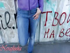 Filthy Russian slut is getting pounded in her mouth in the public place