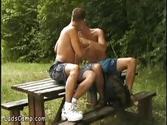 Dreamboat boy got seduced by his gay picnic buddy