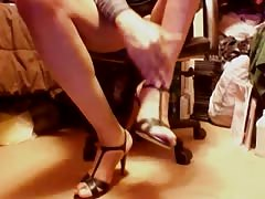 Black leather Slingback casual high heels and upskirt