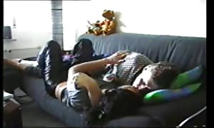 couple on the sofa gets it on lustily