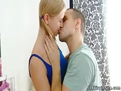 Sveta has her man over and after kissing undoes her blouse