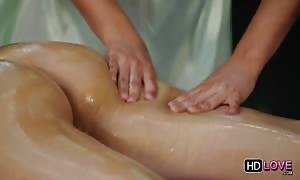 An amazingly lustful girl-on-girl massage