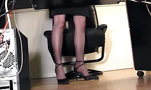leggy secretary finger fucking at the office in pantyhose