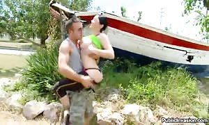 outdoor mouth fuck by a turned on dark-haired with humungous titties