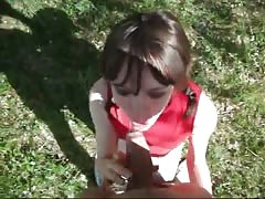 Obedient Russian teenager is sucking a truly huge dick