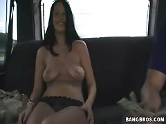 Tanned beauty getting payed for hardcore sex in the van
