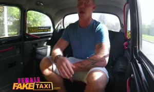 girl faux Taxi Passenger obsessed by big boobed blonde drivers large