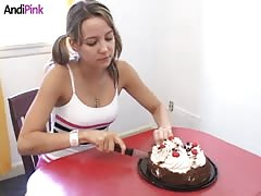 Dirty game with a cake starring a pigtailed Andi Pink