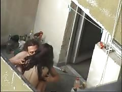 Public homemade sex on the balcony with amateur brunette