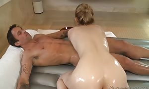 touching her naked body up and down and sucking.