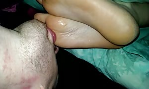 Worship sl33ping wife feet spunk on her soles