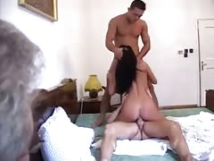 Italian Wife Getting Intense DP while husband Watching