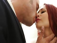Redhead milf is getting her naked pussy licked by lover