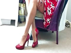 sexy marlyn in red stockings and high heels