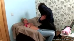 Blonde sexy young bitch fucks an old chap