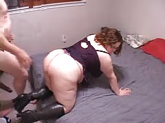 Fatty amateur chick is jumping up and down on a hard dick