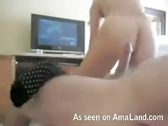 Black-haired gf is going mad on my huge dick during nailing
