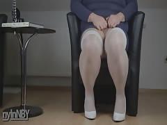 Chubby crossdresser pissing and cumming