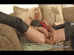 Elegant Extreme Ty pervert fucks with an awesome black dildo