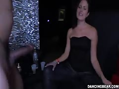 Partying ladies are blowing and swallowing random dicks