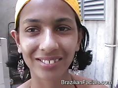 Skinny Brazilian babe is getting a nice facial load