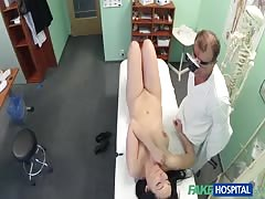 Cute beauty with innocent face getting fucked by doctor