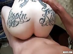 Amazing inked up redhead tattooed Emo is pounded in her pussy and anus