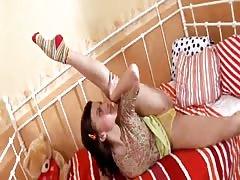 Lithe brunette having very hard sex